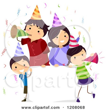Cartoon of a Happy Birthday Party Family with a Sign - Royalty Free Vector Clipart by BNP Design Studio