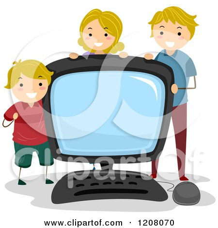 Cartoon of a Happy Caucasian Family with a Giant Desktop Computer - Royalty Free Vector Clipart by BNP Design Studio