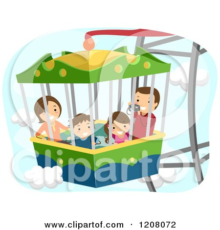 Cartoon of a Happy Family on a Ferris Wheel Ride - Royalty Free Vector Clipart by BNP Design Studio