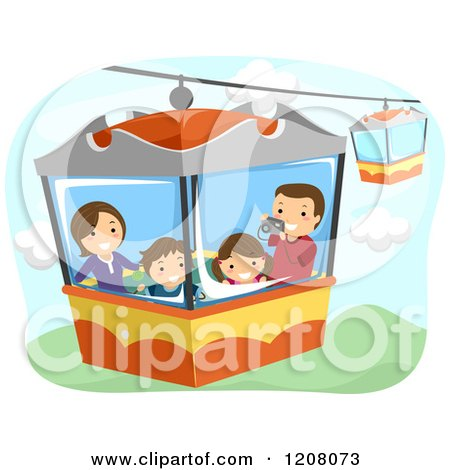 Cartoon of a Happy Family on an Aerial Ride - Royalty Free Vector Clipart by BNP Design Studio