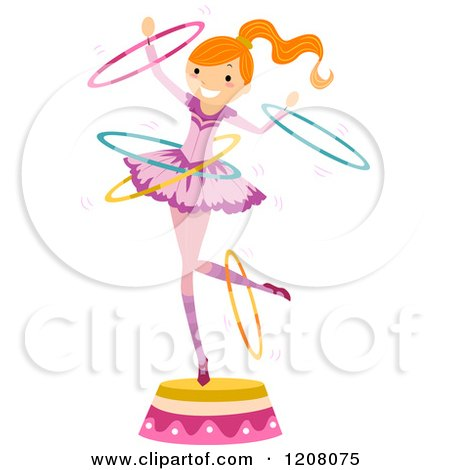 Cartoon of a Circus Girl Perfoming with Hoops - Royalty Free Vector Clipart by BNP Design Studio