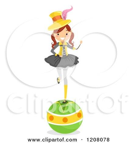 Cartoon of a Circus Girl Balancing on a Ball - Royalty Free Vector Clipart by BNP Design Studio