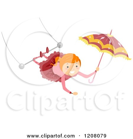 Cartoon of a Circus Girl Swinging from Her Legs on a Trapeze and Holding an Umbrella - Royalty Free Vector Clipart by BNP Design Studio