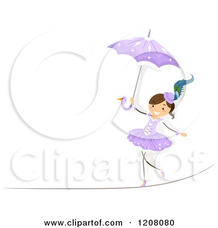 Cartoon of a Circus Girl Walking a Tight Rope with an Umbrella - Royalty Free Vector Clipart by BNP Design Studio