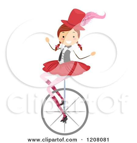 Cartoon of a Circus Girl on a Unicycle - Royalty Free Vector Clipart by BNP Design Studio