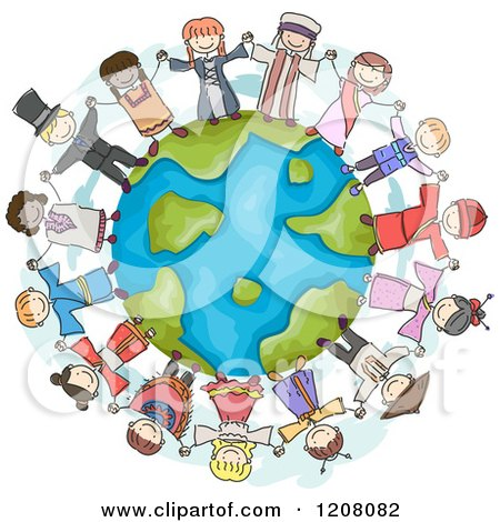 Cartoon of a Circle of Diverse Chidren in Traditional Clothes, Holding Hands Around Earth - Royalty Free Vector Clipart by BNP Design Studio