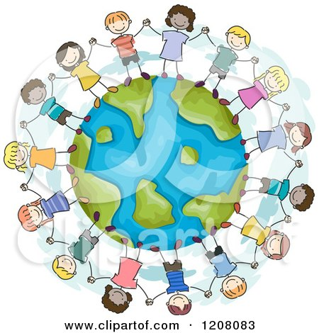 Cartoon of a Circle of Diverse Children Holding Hands Around Earth - Royalty Free Vector Clipart by BNP Design Studio