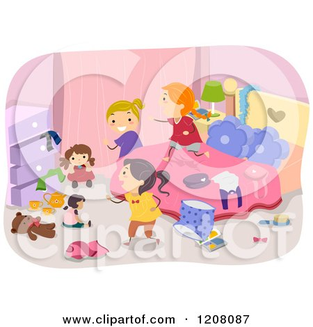 Cartoon of a Messy Bedroom with Girls Playing - Royalty Free Vector Clipart by BNP Design Studio