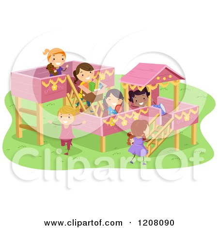 Cartoon of a Playground with Girls Playing - Royalty Free Vector Clipart by BNP Design Studio