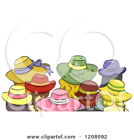 Cartoon of a Rear View of Girls Wearing Different Hats - Royalty Free Vector Clipart by BNP Design Studio
