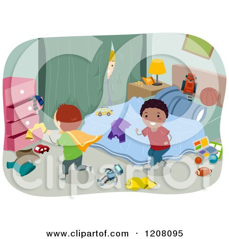 Cartoon of Happy Diverse Boys Playing in a Messy Bedroom - Royalty Free Vector Clipart by BNP Design Studio
