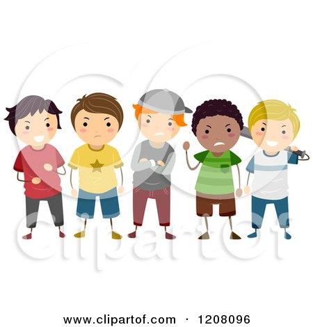 RoyaltyFree RF Clipart of School Bullies Illustrations Vector Graphics 1