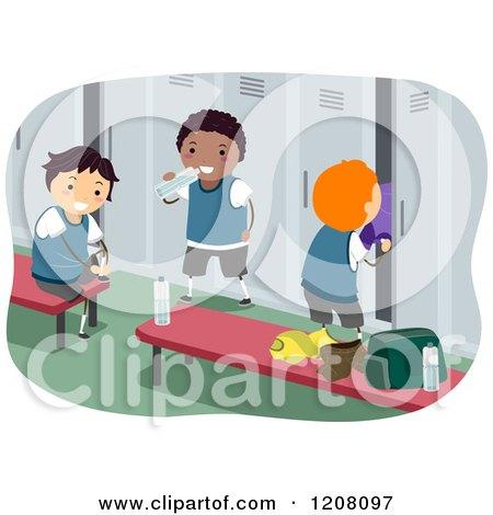 Cartoon of Happy Diverse Boys in a Locker Room - Royalty Free Vector Clipart by BNP Design Studio