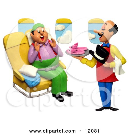 Clay Sculpture Clipart Flight Attendant Serving Slippers To A First Class Passenger - Royalty Free 3d Illustration  by Amy Vangsgard