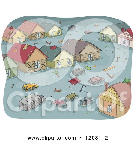 Cartoon of a Flooded Town with Cars and Houses - Royalty Free Vector Clipart by BNP Design Studio