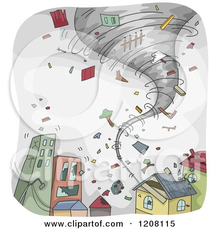Cartoon of a Tornado Sweeping Through a Town and Tearing Apart Homes - Royalty Free Vector Clipart by BNP Design Studio