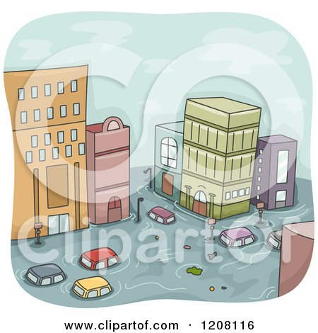 Cartoon of a Flooded City with Cars and Buildings - Royalty Free Vector Clipart by BNP Design Studio