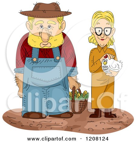 Cartoon of a Farmer with a Basket of Corn and Wife Holding a Hen - Royalty Free Vector Clipart by BNP Design Studio