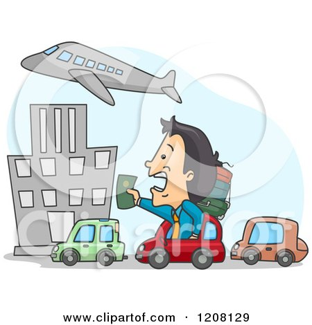 Cartoon of a Late Man Stuck in Traffic and Holding out His Passport to an Airplane - Royalty Free Vector Clipart by BNP Design Studio