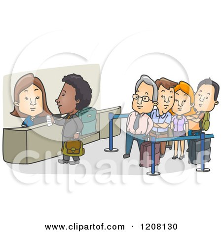 Cartoon of a Check in Counter at an Airport with a Line - Royalty Free Vector Clipart by BNP Design Studio