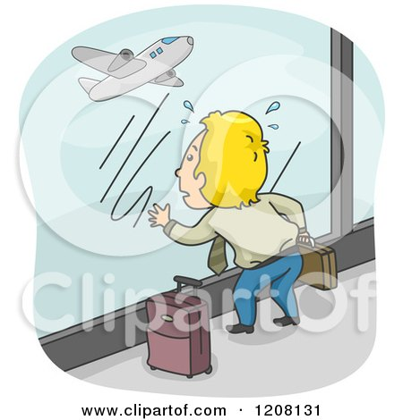 Cartoon of a Man with His Luggage, Watching His Missed Flight Take off - Royalty Free Vector Clipart by BNP Design Studio