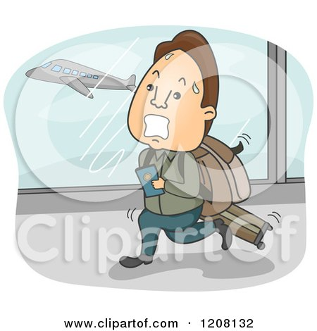 Cartoon of a Sweaty Man Running Through an Airport to Catch His Flight - Royalty Free Vector Clipart by BNP Design Studio