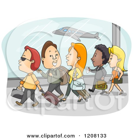 Cartoon of a Group of Airport Passengers Walking with Their Luggage - Royalty Free Vector Clipart by BNP Design Studio