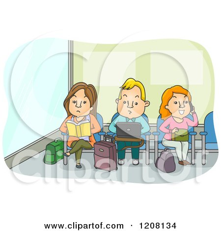 Cartoon of Adults Working and Reading in an Airport Waiting Area - Royalty Free Vector Clipart by BNP Design Studio