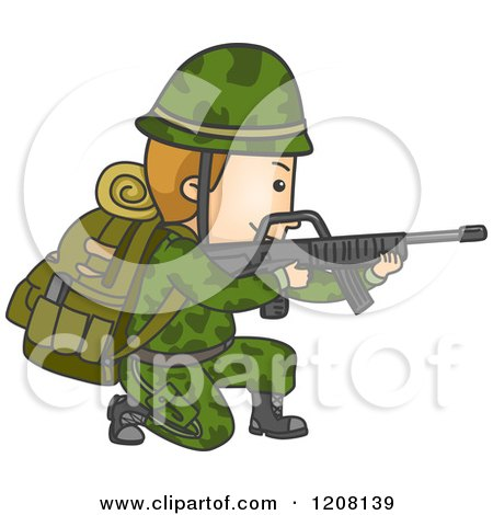 Cartoon of a Male Soldier Kneeling and Aiming a Rifle - Royalty Free Vector Clipart by BNP Design Studio