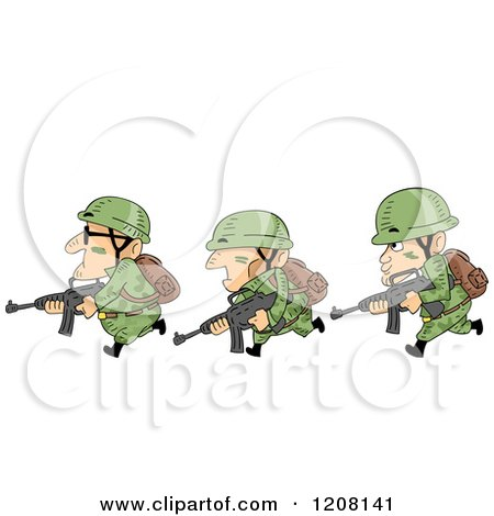 Cartoon of a Row of Soldiers Running with Guns - Royalty Free Vector Clipart by BNP Design Studio