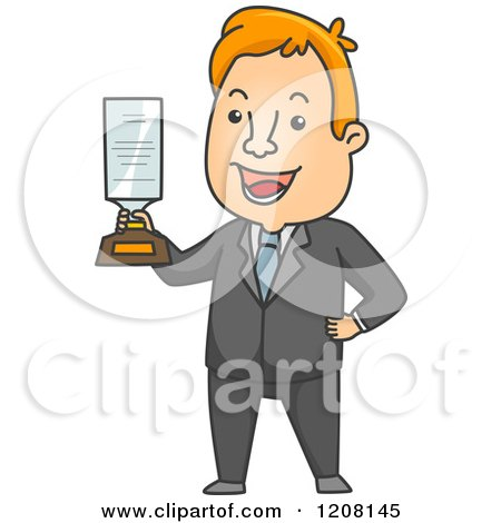 Cartoon of a Hapy Businessman Holding an Award - Royalty Free Vector Clipart by BNP Design Studio