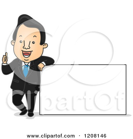 Cartoon of a Happy Businesman Holding a Thumb up and Leaning on a Sign - Royalty Free Vector Clipart by BNP Design Studio