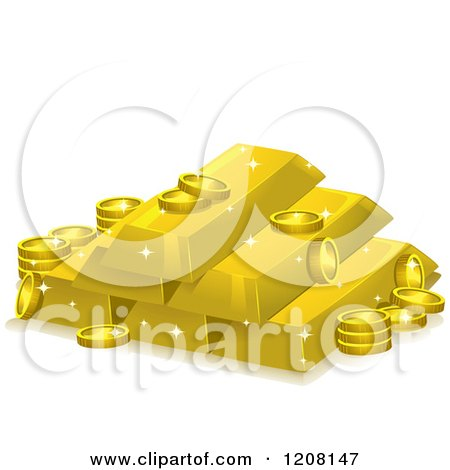 Cartoon of a Stack of Gold Bars and Coins - Royalty Free Vector Clipart by BNP Design Studio