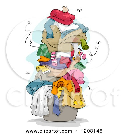 Cartoon of a Pile of Dirty Smely Laundry with Flies - Royalty Free Vector Clipart by BNP Design Studio