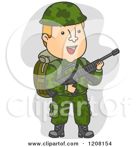 Cartoon of a Soldier in Camouflage, Carrying a Rifle - Royalty Free Vector Clipart by BNP Design Studio
