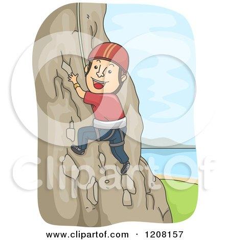 Cartoon of a Happy Man Rock Climbing - Royalty Free Vector Clipart by BNP Design Studio