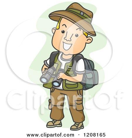 Cartoon of a Male Explorer Holding Binoculars - Royalty Free Vector Clipart by BNP Design Studio