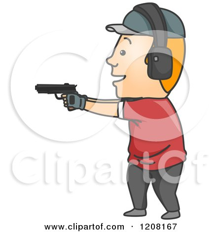 Cartoon of a Man Target Shooting - Royalty Free Vector Clipart by BNP Design Studio