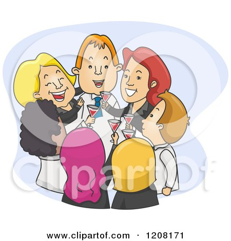 Cartoon of a Toasting Successful Business Team - Royalty Free Vector Clipart by BNP Design Studio