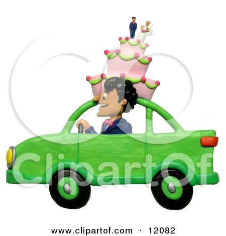 Clay Sculpture Clipart Man Driving With A Wedding Cake On Top Of A Car - Royalty Free 3d Illustration  by Amy Vangsgard