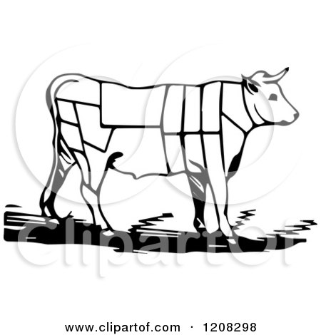 Clipart Of A Black and White Cow With Butcher Sections of Bullock - Royalty Free Vector Illustration by Picsburg