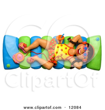 Clay Sculpture Clipart Girl Listening To An Mp3 Player And Floating In A Pool Royalty Free 3d Illustration