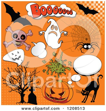 Cartoon of Comic Styled Halloween Design Elements over Orange - Royalty Free Vector Clipart by Pushkin
