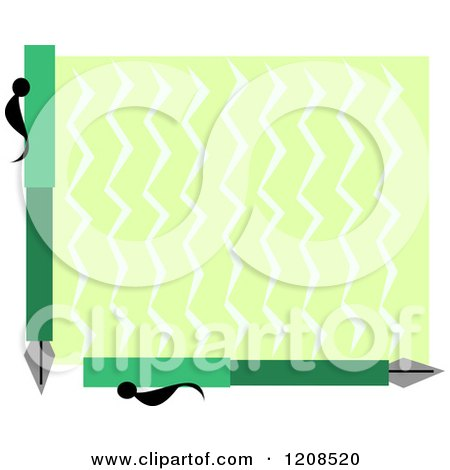 Cartoon of a Border Frame of Fountain Pens and Zig Zags - Royalty Free Vector Clipart by bpearth