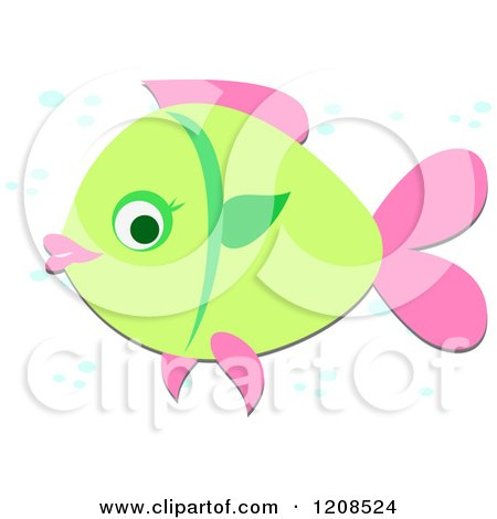 Cartoon of a Green and Pink Fish with Bubbles - Royalty Free Vector Clipart by bpearth