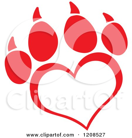 Cartoon of a Red Heart Shaped Love Paw Print - Royalty Free Vector Clipart by Hit Toon
