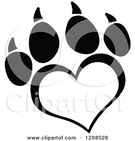 Cartoon of a Black and White Heart Shaped Love Paw Print - Royalty Free Vector Clipart by Hit Toon