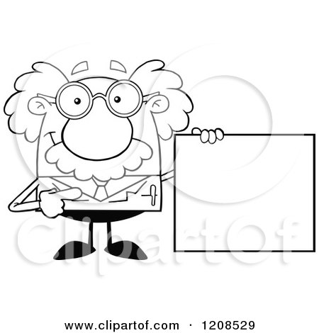 Cartoon of an Outlined Science Professor Holding a Sign - Royalty Free Vector Clipart by Hit Toon