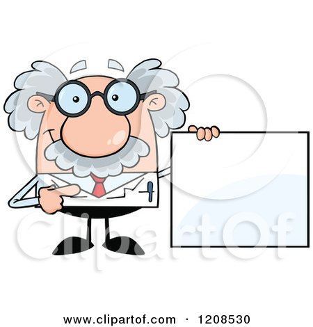 Cartoon of a Science Professor Holding a Sign - Royalty Free Vector Clipart by Hit Toon