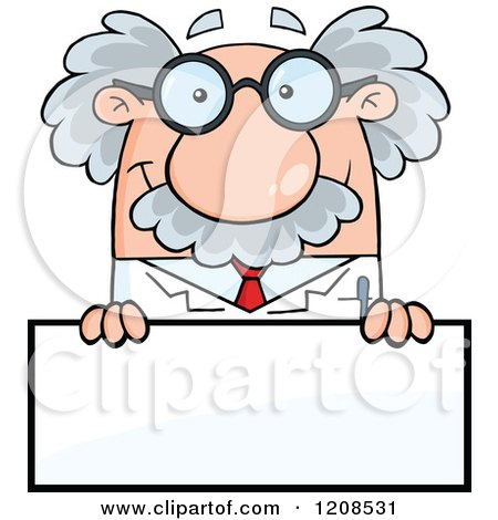 Cartoon of a Science Professor over a Sign - Royalty Free Vector Clipart by Hit Toon
